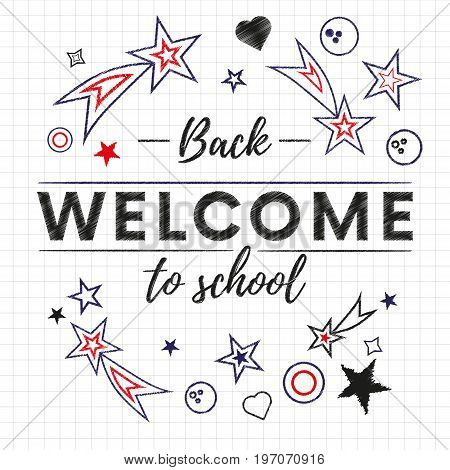 Welcome. back to school text banner in white paper background with red and blue stars and signs. Vector illustration.