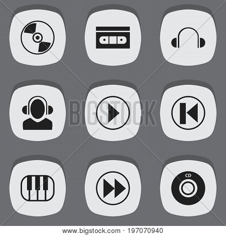 Set Of 9 Editable Music Icons. Includes Symbols Such As Piano, Dj, Rewind And More