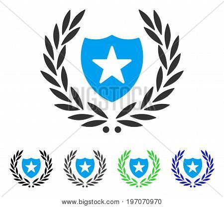 Shield Laurel Wreath flat vector pictograph. Colored shield laurel wreath gray, black, blue, green icon variants. Flat icon style for application design.