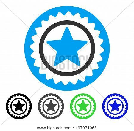 Star Medal Seal flat vector icon. Colored star medal seal gray, black, blue, green icon variants. Flat icon style for application design.