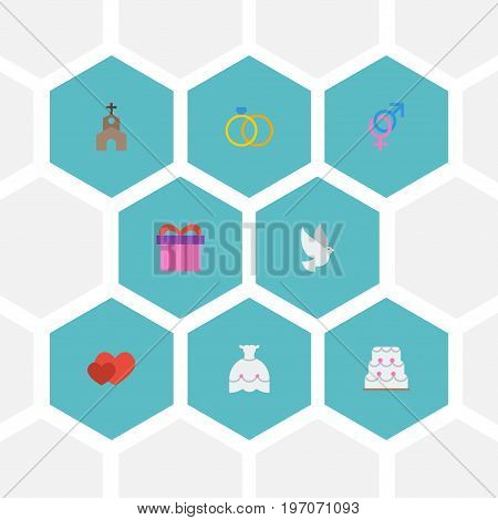 Flat Icons Love, Wedding Gown, Present And Other Vector Elements