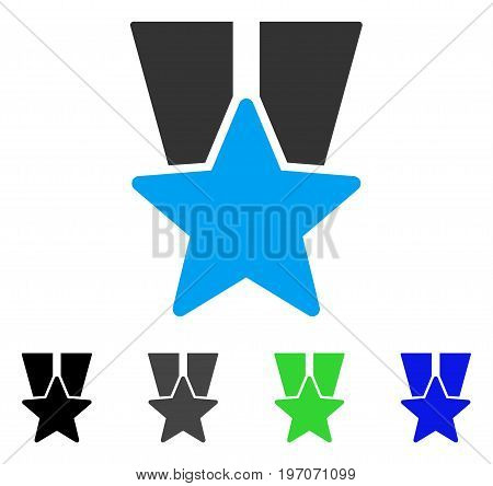 Star Medal flat vector pictograph. Colored star medal gray, black, blue, green icon variants. Flat icon style for application design.