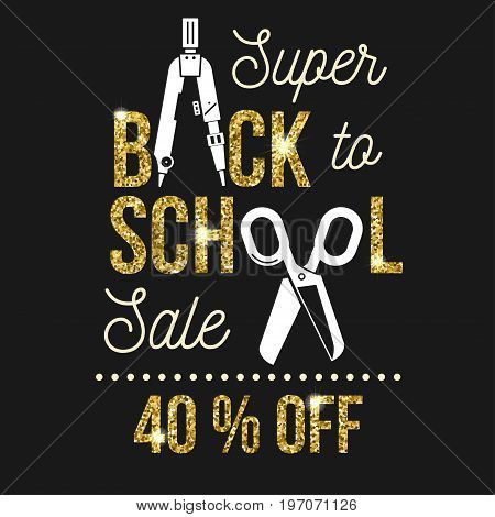 Super Back to School Sale design. For advertising, promotion, poster, flier, blog, article, social media, marketing or banner. Vector illustration. Back to School sale