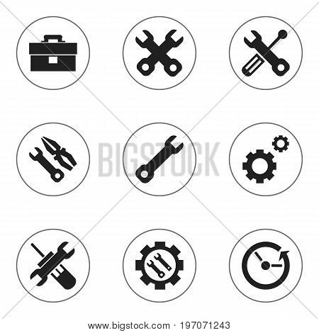 Set Of 9 Editable Toolkit Icons. Includes Symbols Such As Time, Mechanic Cogs, Build Equipment And More
