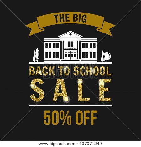 The Big Back to School Sale design. For advertising, promotion, poster, flier, blog, article, social media, marketing or banner Vector illustration. Back to School sale.