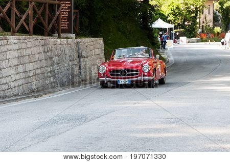 PESARO, ITALY - MAY 15: MERCEDES-BENZ 190 SL 1956 old racing car in rally Mille Miglia 2015 the famous italian historical race 1927-1957 on May 15 2015