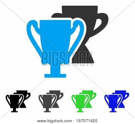 Trophy Cups flat vector pictograph. Colored trophy cups gray, black, blue, green icon versions. Flat icon style for application design.
