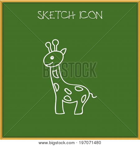 Vector Illustration Of Zoology Symbol On Giraffe Doodle