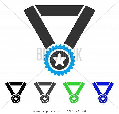 Winner Medal flat vector icon. Colored winner medal gray, black, blue, green pictogram versions. Flat icon style for application design.
