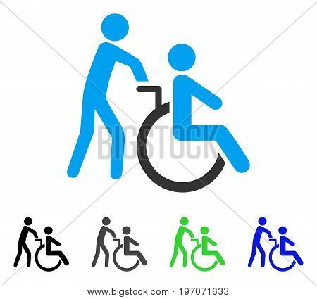 Disabled Person Transportation flat vector pictogram. Colored disabled person transportation gray, black, blue, green icon versions. Flat icon style for application design.