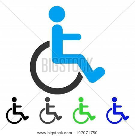 Disabled Person flat vector pictogram. Colored disabled person gray, black, blue, green pictogram variants. Flat icon style for graphic design.
