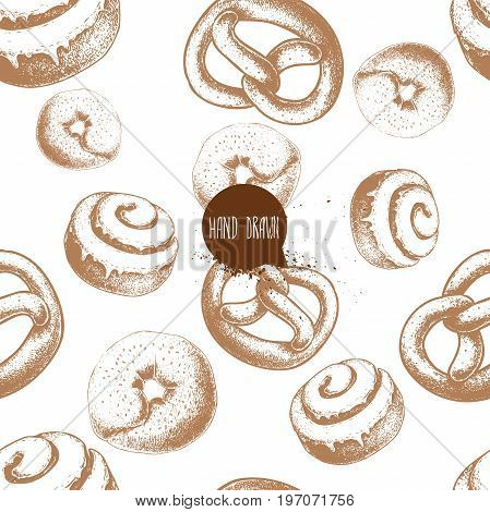 Seamless vector pattern with bakery goods. Bagels german pretzels and iced cinnamon bun. Hand drawn sketch style.