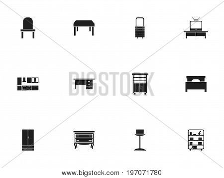 Set Of 12 Editable Furnishings Icons. Includes Symbols Such As Tv, Cooking Furnishings, Lectern And More