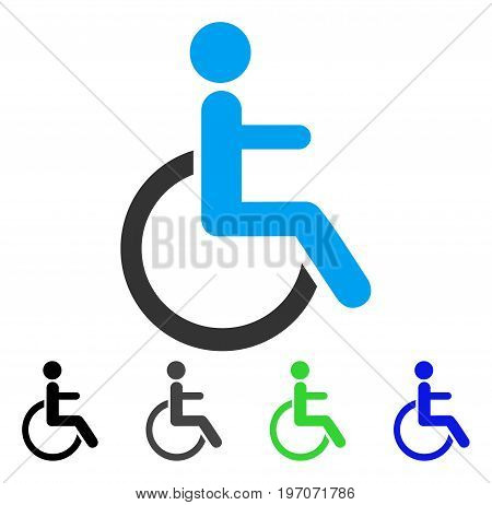 Disabled Person flat vector pictograph. Colored disabled person gray, black, blue, green pictogram variants. Flat icon style for application design.
