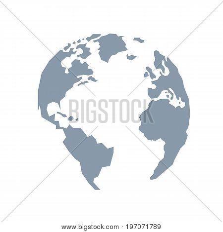Lowpoly globe. America Europe Atlantic Ocean. Blue grey. Vector illustration. Light background. Eps10.
