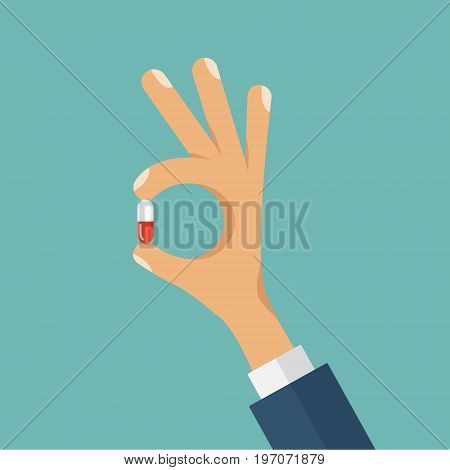 Vector concept flat style illustration of human hand holding the medicine pill between fingers.