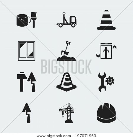 Set Of 12 Editable Construction Icons. Includes Symbols Such As Elevator, Warning Cone, Construction Tools And More