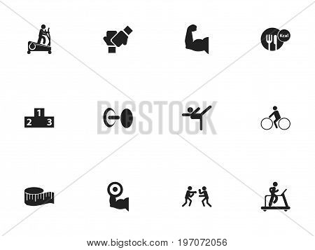Set Of 12 Editable Sport Icons. Includes Symbols Such As Platform For Winner, Acrobatics, Cloth Ruler And More