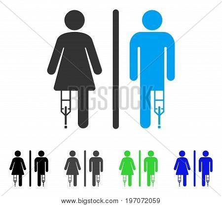 Patient WC Persons flat vector icon. Colored patient wc persons gray, black, blue, green pictogram versions. Flat icon style for web design.