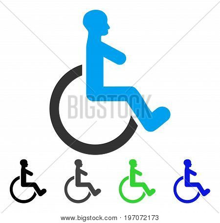 Wheelchair flat vector pictogram. Colored wheelchair gray, black, blue, green icon versions. Flat icon style for application design.