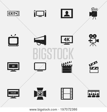 Set Of 16 Editable Filming Icons. Includes Symbols Such As Tripod, Broadcast, Clapper And More