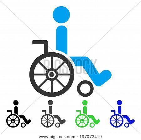 Wheelchair flat vector pictogram. Colored wheelchair gray, black, blue, green icon versions. Flat icon style for graphic design.