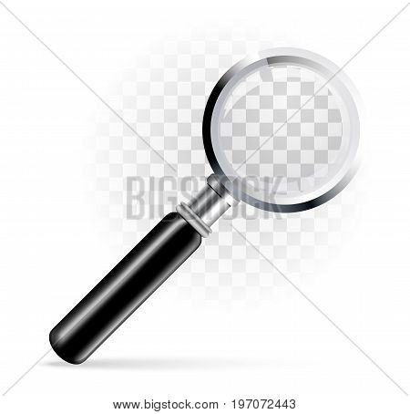 Magnifying glass, magnifier on a transparent background. Vector illustration