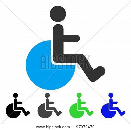 Wheelchair flat vector pictogram. Colored wheelchair gray, black, blue, green pictogram versions. Flat icon style for application design.