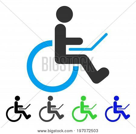 Wheelchair flat vector icon. Colored wheelchair gray, black, blue, green pictogram variants. Flat icon style for application design.