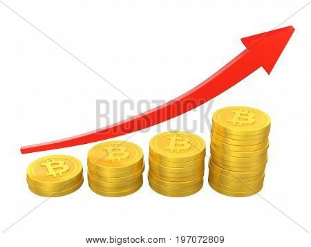 Stack of Bitcoins with Arrow Up isolated on white background. 3D render