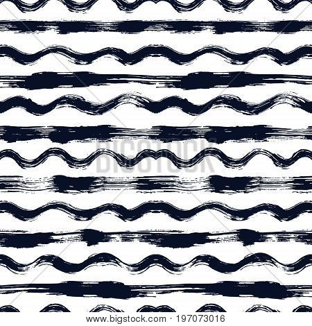 Vector seamless pattern with brush stripes and waves. Black color on white background. Hand painted grange texture. Ink geometric elements. Fashion modern style. Endless fabric print. Teen unusual