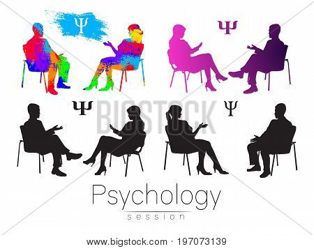 The psychologist and the client. Psychotherapy. Psycho therapeutic session. Psychological counseling. Man woman talking while sitting.Silhouette. Black profile. Modern symbol logo. Design concept sign