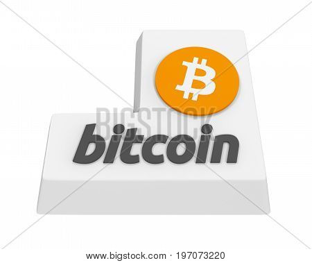 Bitcoin Enter Button isolated on white background. 3D render