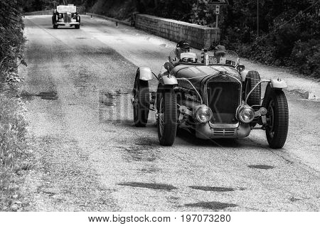 GOLA DEL FURLO, ITALY - MAY 19: DELAGE D6 75 SPORT 1939 on an old racing car in rally Mille Miglia 2017 the famous italian historical race (1927-1957) on May 19 2017