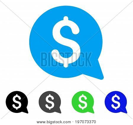 Financial Message flat vector icon. Colored financial message gray, black, blue, green pictogram versions. Flat icon style for application design.