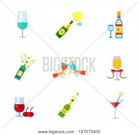 Alcoholic drinks icon set. Wineglass Champagne explosion Vodka Champagne bottle Toasting glasses Glass of champagne with ribbon Cherry beer Cork Cocktail