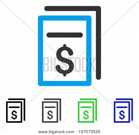 Invoices flat vector pictograph. Colored invoices gray, black, blue, green icon versions. Flat icon style for web design.