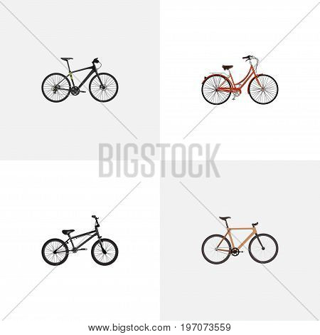 Realistic Extreme Biking, Retro, Timbered And Other Vector Elements
