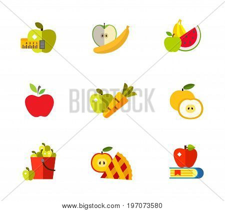 Apple concept icon set. Measuring tape Banana Summer fruit Apple Carrot Cut fruit Bucket Apple pie slice Knowledge concept