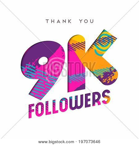 9K Social Media Follower Number Thank You Template