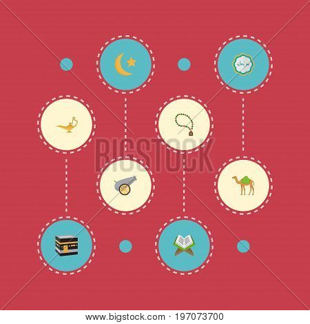 Flat Icons Holy Book, Mecca, Bead And Other Vector Elements