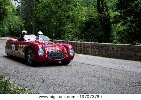 GOLA DEL FURLO, ITALY - MAY 19: CISITALIA 202 S MM SPIDER NUVOLARI 1947 on an old racing car in rally Mille Miglia 2017 the famous italian historical race (1927-1957) on May 19 2017