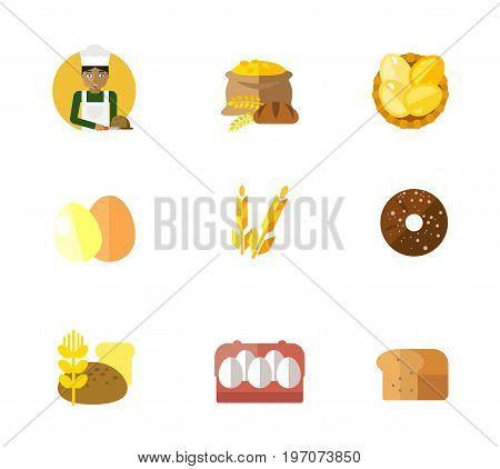 Bakery icon set. Baker cutting bread Grain Eggs in basket Two eggs Wheat ear Finnish round rye bread Loafs and wheat Eggs in cartoon package Bread