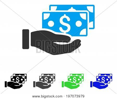 Pay By Cash flat vector icon. Colored pay by cash gray, black, blue, green icon versions. Flat icon style for application design.