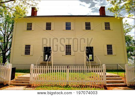 Old Shaker Building located at the Shaker Village in Kentucky