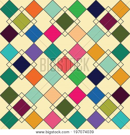 Harlequin geometric seamless patterns. Grey grid pattern with multicolored rhomboids. Vector background in retro abstract style