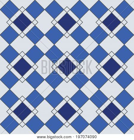 Harlequin geometric seamless patterns. Grey grid pattern with blue rhomboids. Vector background in retro abstract style