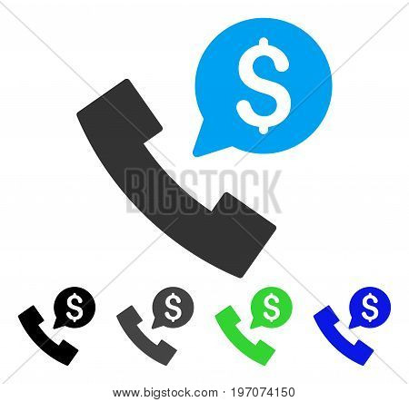 Phone Order flat vector pictograph. Colored phone order gray, black, blue, green icon variants. Flat icon style for application design.