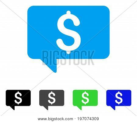 Price Message flat vector pictogram. Colored price message gray, black, blue, green pictogram versions. Flat icon style for graphic design.