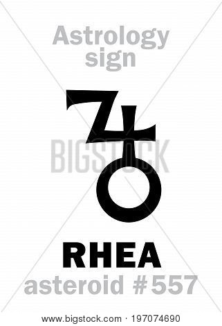 Astrology Alphabet: RHEA, asteroid #557. Hieroglyphics character sign (single symbol).